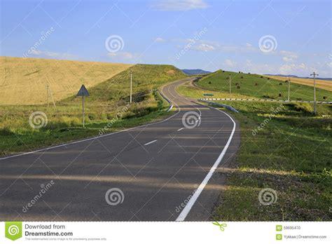 Beautiful Road Among Farm Fields Stock Photo Image Of