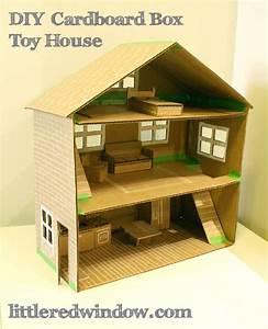 DIY Cardboard Box Toy House - Little Red Window