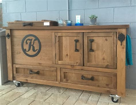 Outdoor Sideboard Cabinet by Custom Outdoor Cabinet Rustic Cooler Bar Cart Grilling