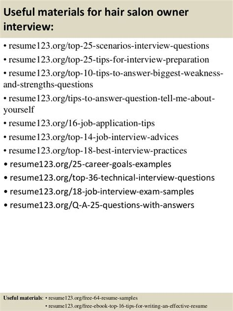 top 8 hair salon owner resume sles