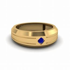 bezel round blue sapphire mens band engagement ring in 14k With sapphire wedding rings for men