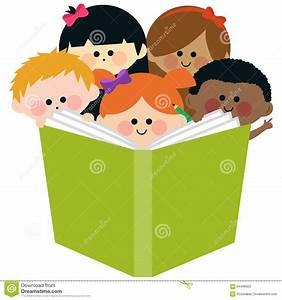Group Of Kids Reading A Book Stock Vector - Image: 64496923