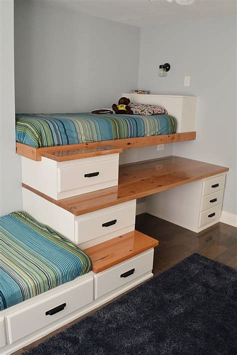 One solution is to invest in a set of lofted beds. Unique Ideas For Boys And Girls Shared Bedroom - decorholic.co