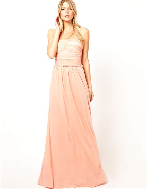 mango rouched lace maxi dress  pink sorbete lyst