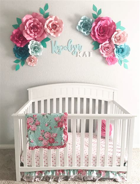 flower paper floral nursery flowers arrangement 3d bedroom pink painting rooms adorable cheap personalized nurseries things teal layout rose crafts