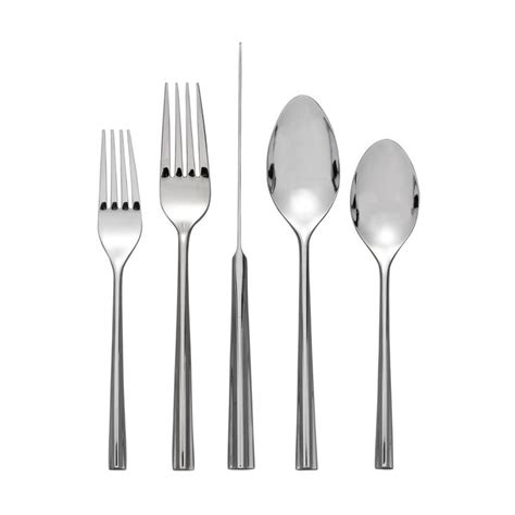 flatware steel stainless nambe sets service silverware table corner tri end place piece dinner wave satin 40pc spoon boch villeroy