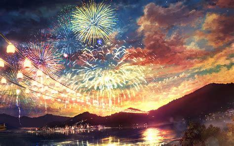ah firework dark night anime art illust wallpaper