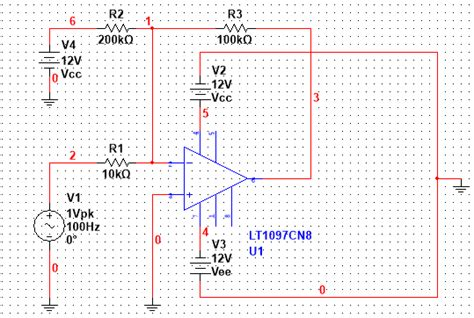 Operational Amplifier Multisim Transient Time Point