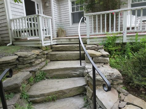 Wrought Iron Railing On Natural Stone Steps