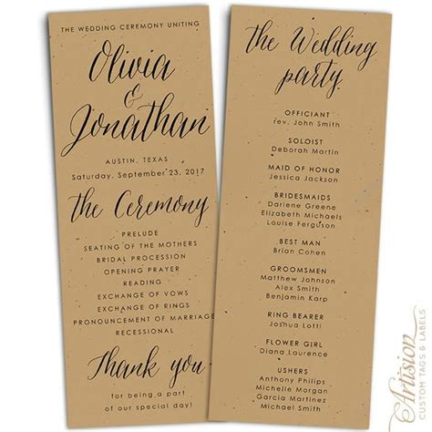 wedding programs    kraft artision