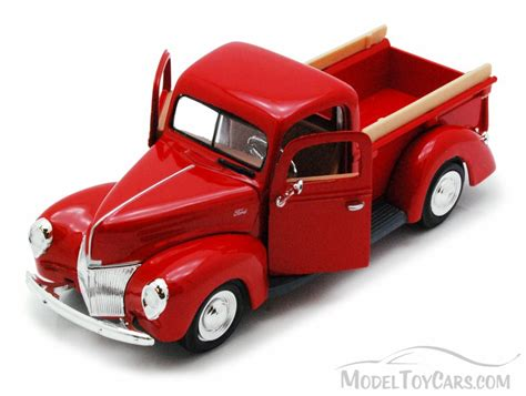 truck car ford 1940 ford pick up truck red showcasts 73234 1 24