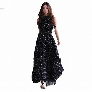 Fashion Women's Polka Dots Long Maxi Casual Chiffon Summer ...