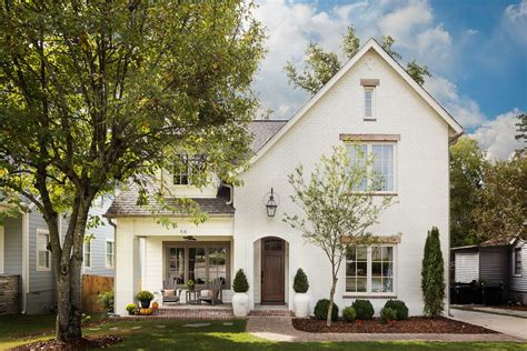 white brick house exterior traditional with pavers shaped