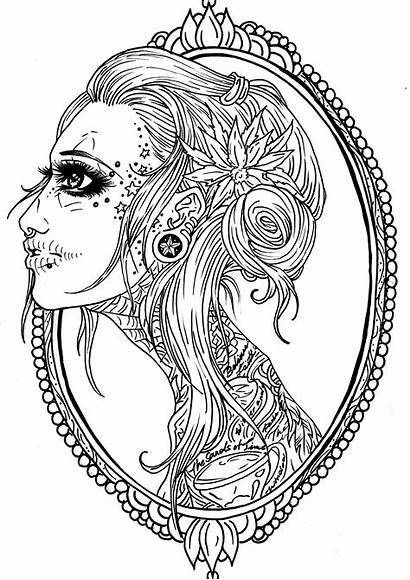 Skull Coloring Pages Tattoo Frame Adult Sugar