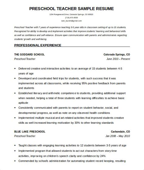 sample resume for preschool teacher 50 resume templates pdf doc free amp premium 791