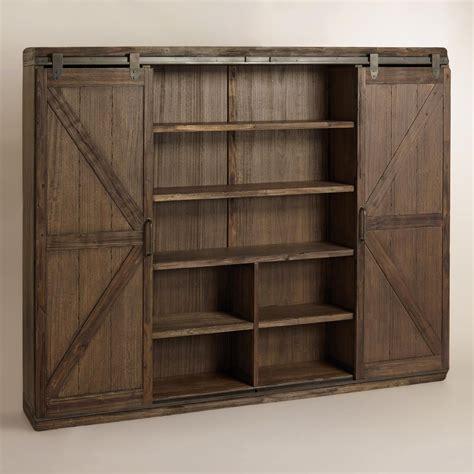 Bookshelf With Doors by Wood Farmhouse Barn Door Bookcase World Market Barn Door