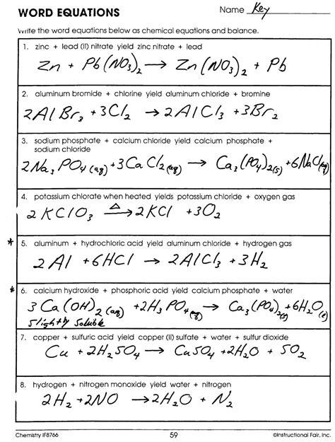 images  chemistry  worksheet answer key