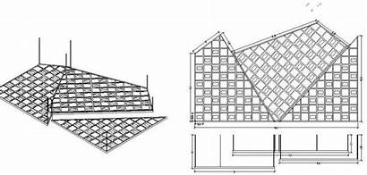 Ceiling False Section Drawing Cad Structure Dwg