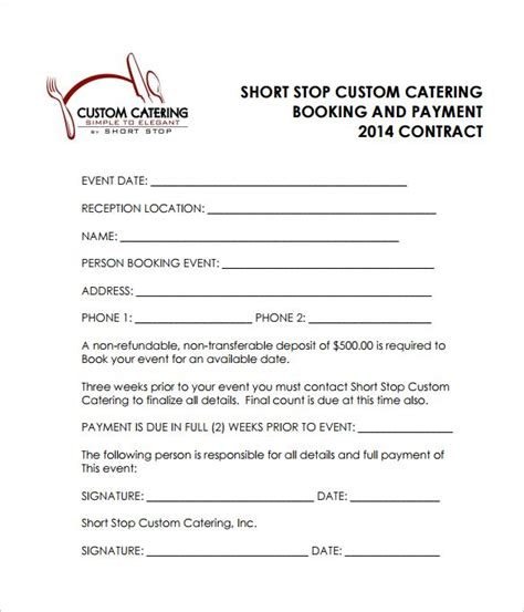 reception catering contract    catering