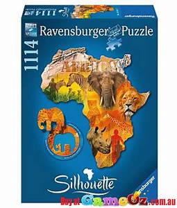 what items are from the american continent silhouette african continent ravensburger shaped 1114