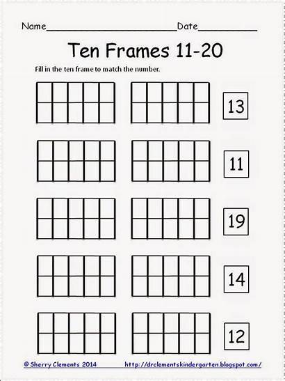 Math Kindergarten Ten Frames Worksheets Writing Number