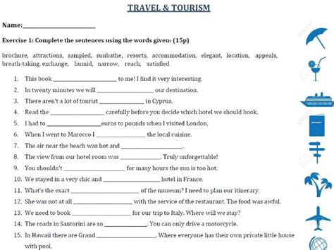 travel  tourism vocabulary exercises test