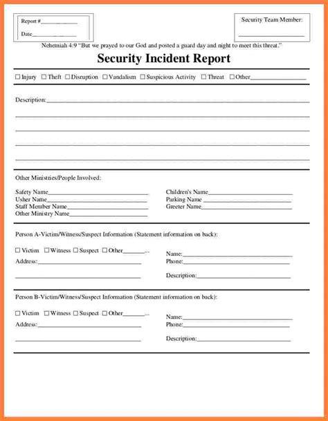 Incident Report Template Security Incident Report Template Word Seven Various Ways