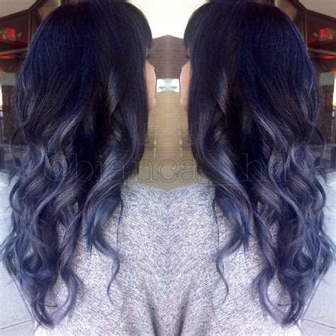 Steel Blue Grey Ombre Balayage With Black Roots And Soft
