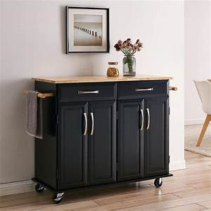 Belleze, Large, Rolling, Kitchen, Cart, With, 2, Drawers, 2, Cabinets, U0026, 2, Towel, Racks, With, Wood, Top