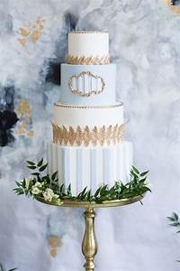 Sky Blue And Gold Wedding Cake Elizabeth Anne Designs