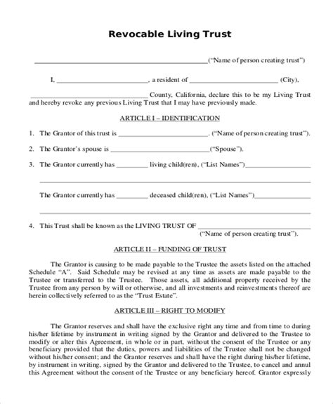 printable living trust forms maryland revocable trust forms download pdf