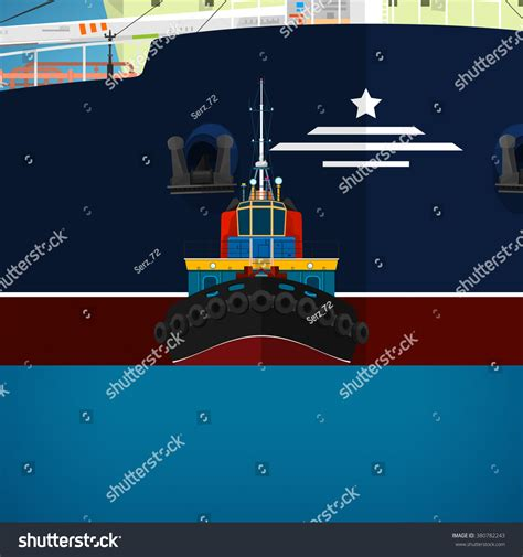 Tugboat Wages by Tugboat Towing A Large Ship A Front View Of The Push