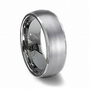 brushed finish domed tungsten wedding band polished edge With tungston wedding ring