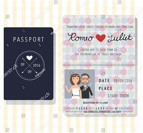 passport wedding invitation templates   psd