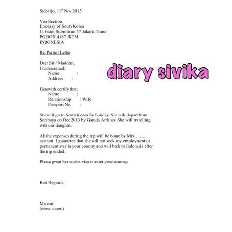 contoh surat izin suami  visa jepang contoh