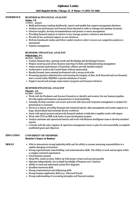 Financial Analyst Skills Resume by Business Financial Analyst Resume Sles Velvet