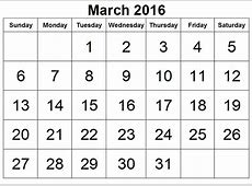 2016 March Month Blank Calender Printable Printable