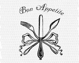 Bon Appetite Fork Knife Spoon Vintage Digital Collage Sheet