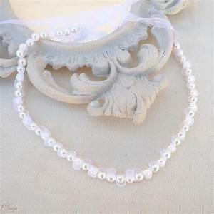 collier de mariee ras de cou perles organza personnalisable With collier perle mariée