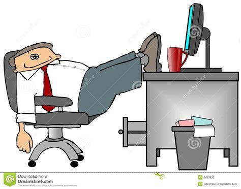 pieds sur le bureau illustration stock image du ouvrier