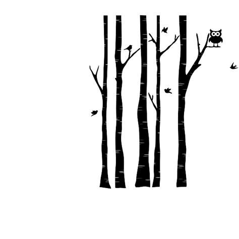 birch tree wall decal  birds tree  owl wall decal
