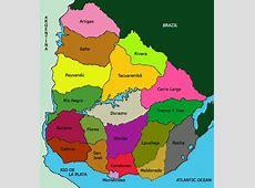 El mapa de Uruguay y la bandera de Uruguay