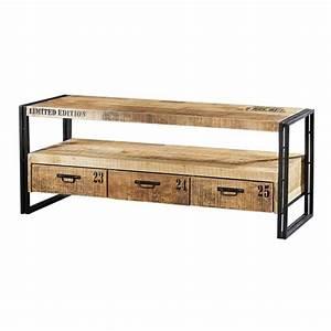 Tv 30 Cm : meuble tv industriel bas en bois et m tal iron ~ Teatrodelosmanantiales.com Idées de Décoration