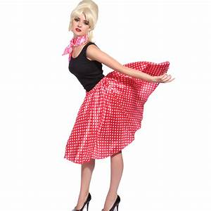 50s 60s Ladies Rock N Roll Polka Dot Grease Dancing Skirt ...