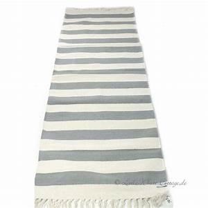 Läufer Mit Sternen : streifen teppich l ufer baumwolle grau natur teppich pinterest ~ Whattoseeinmadrid.com Haus und Dekorationen