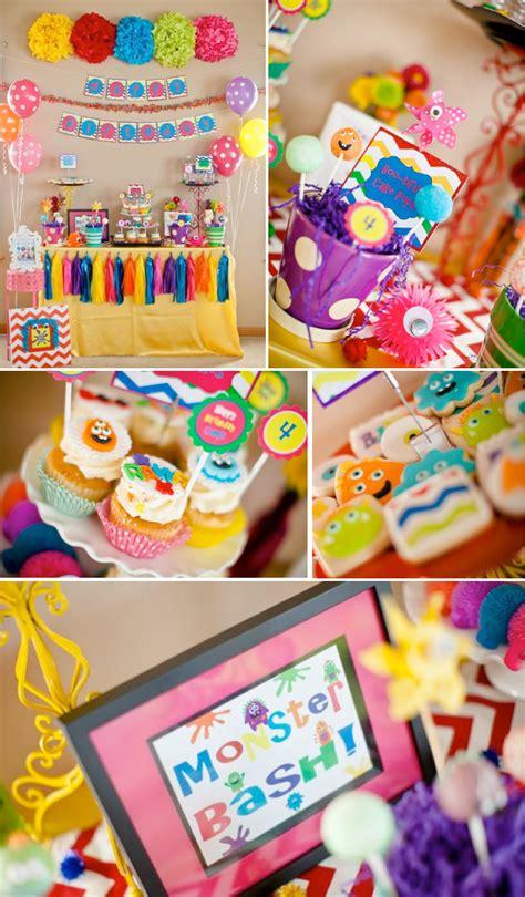karas party ideas girly monster bash girl birthday party