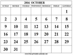 October 2016 Calendar Printable Org