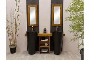 Meuble Double Vasque Noir : meuble salle de bain teck osiris double vasque meubles en ~ Teatrodelosmanantiales.com Idées de Décoration