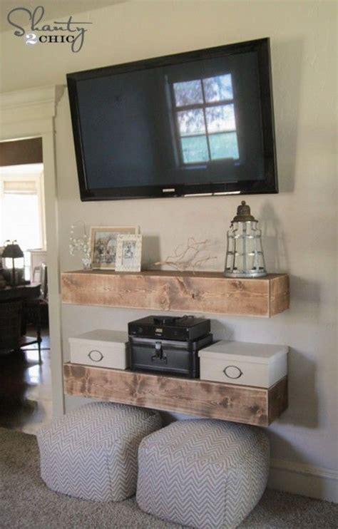 diy media shelves home diy decor  tv living