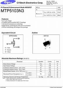 Mtp5103n3 Datasheet   S Manuals Com  Cystek